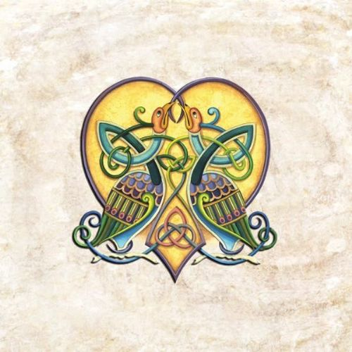 Celtic Love Birds Blank Card